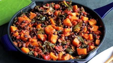 Butternut squash, canned black beans, collard greens and