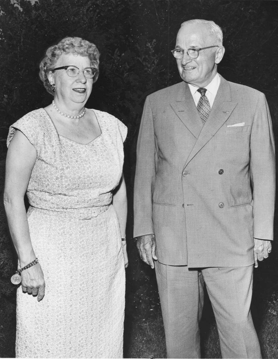 Bess and Harry Truman pose at the summer