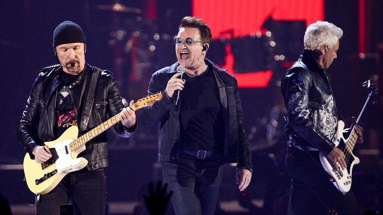 U2 -- The Edge, left, Bono and Adam