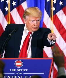 President-elect Donald Trump speaks at a news cenference