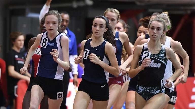 Runners compete in the Girls Invitational One Mile
