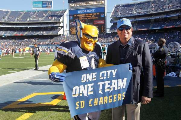 Chargers owner Dean Spanos poses with the team