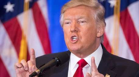 Donald Trump spoke to reporters at his first