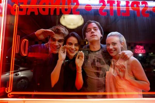 KJ Apa, left, Camila Mendes, Cole Sprouse and