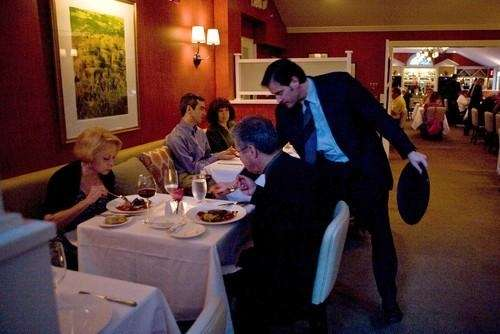 Customers dine at Mirabelle in Stony Brook.