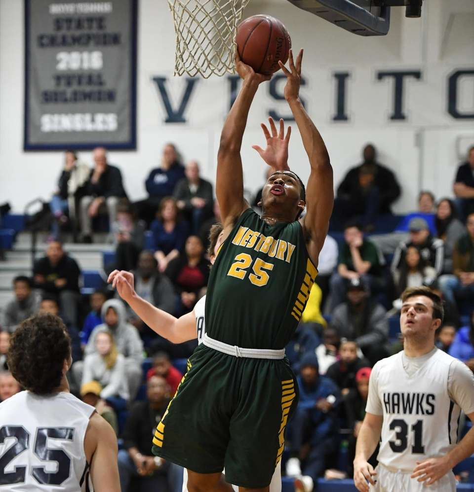 Westbury's Khalid Ketchen puts up a shot from