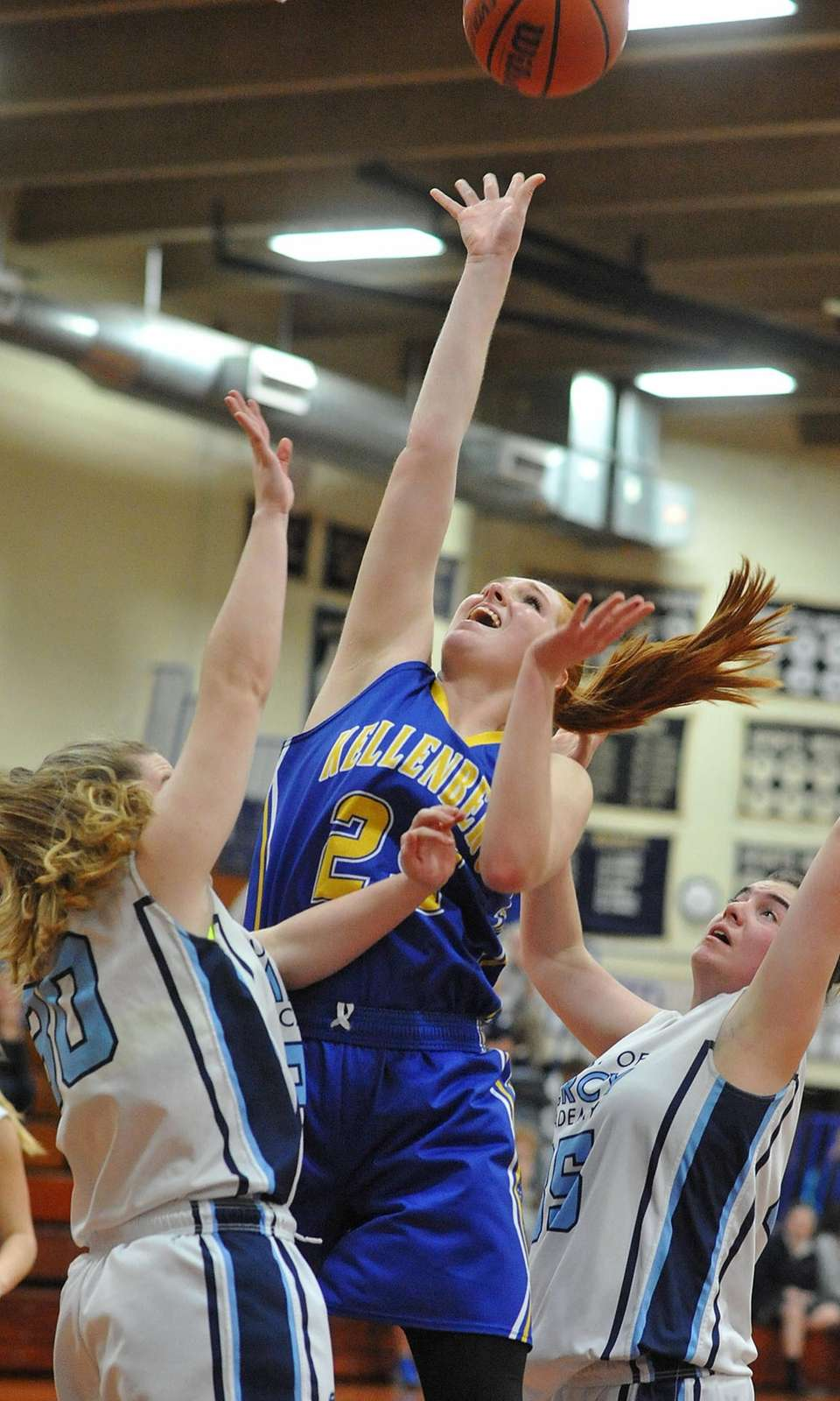 Morgan Staab #25 of Kellenberg drives to the