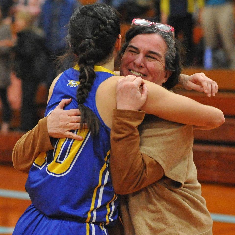 Eileen Calabro hugs her daughter Clare Calabro of