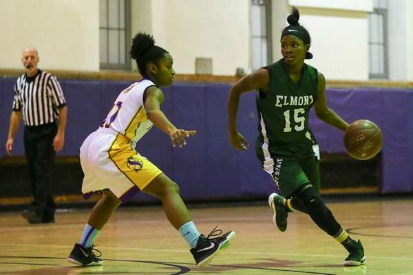 Zhaneia Thybulle of Elmontdrives to the basket against