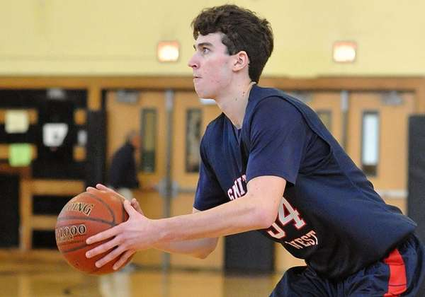 Michael Gannon #34 of Smithtown West squares to