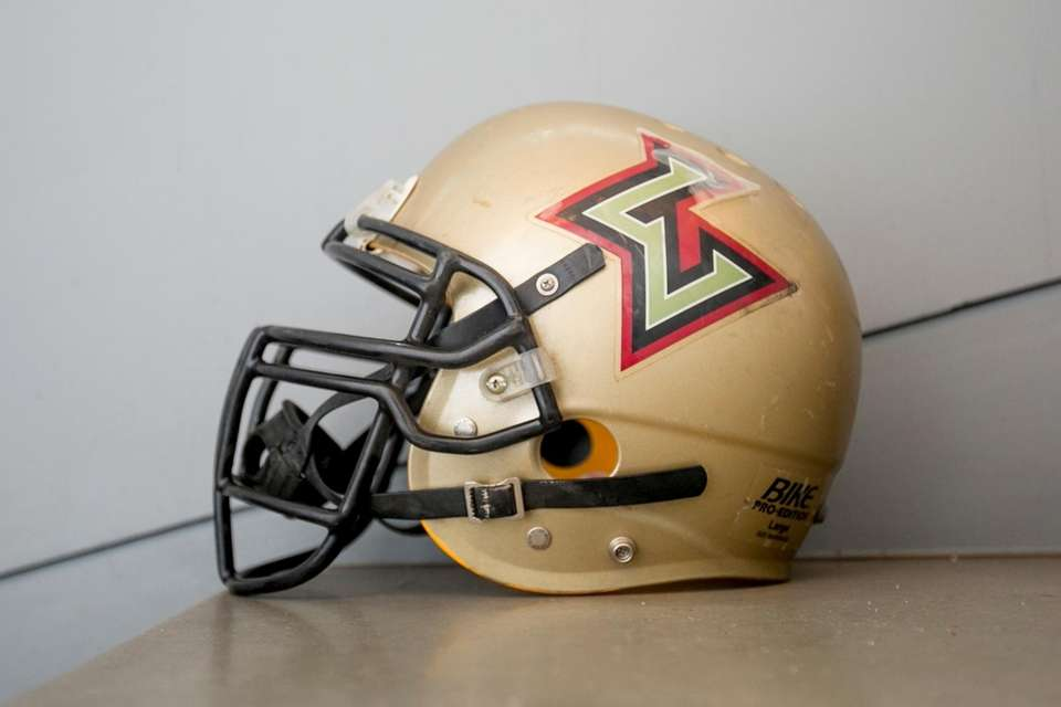 A Las Vegas Outlaws helmet on display at
