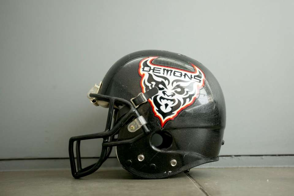 A San Francisco Demons helmet on display at