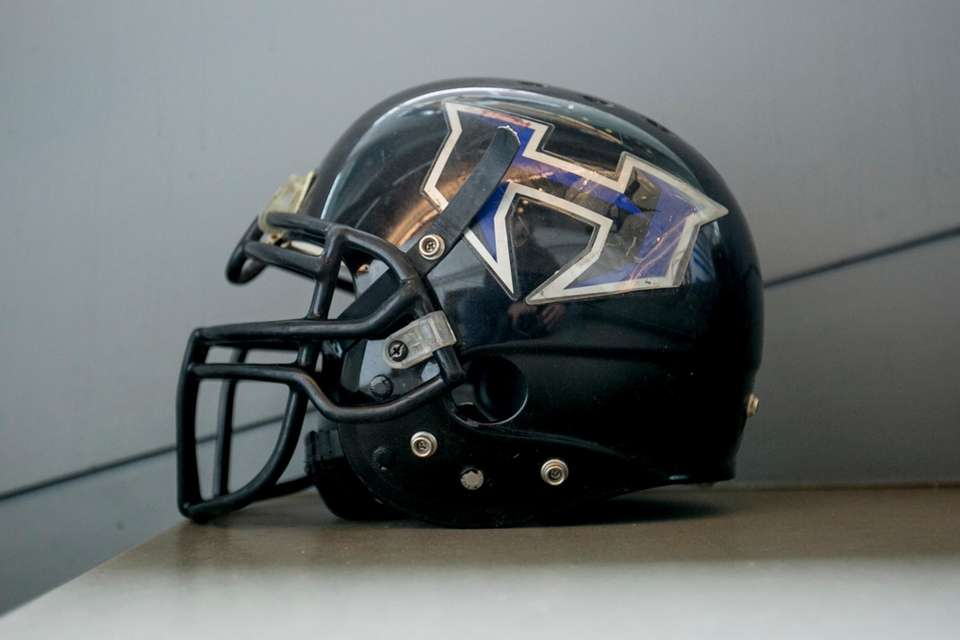 A New York-New Jersey Hitmen helmet on display