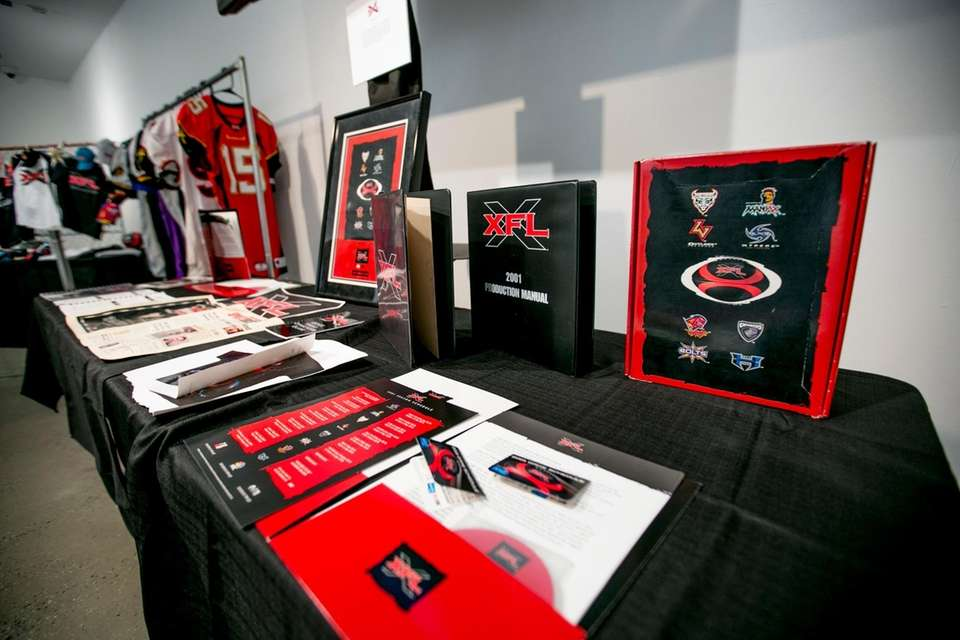 Ephemera at an exhibition on the XFL football