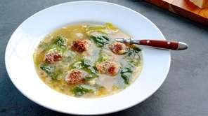 Italian wedding soup with little meatballs, escarole and