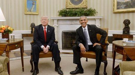 U.S. President Barack Obama meets with President-elect Donald