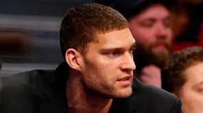 Brook Lopez #11 of the Brooklyn Nets looks