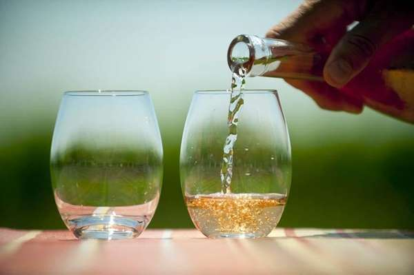 Rose wine in a glass at Croteaux Vineyards