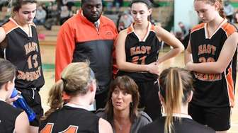 East Rockaway head coach Karin Leary directs her