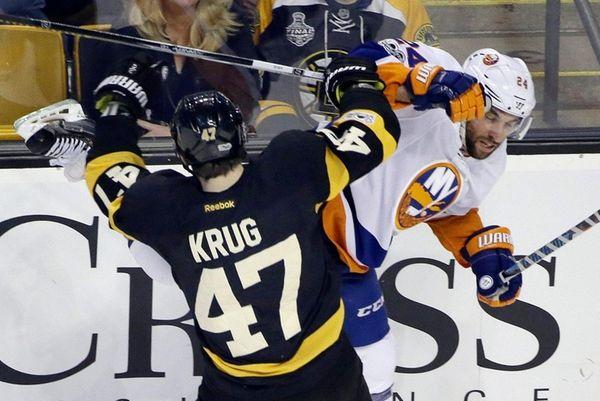 Boston Bruins defenseman Torey Krug (47) checks New