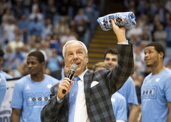 North Carolina head coach Roy Williams speaks to