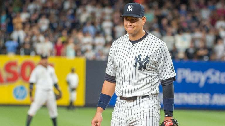 New York Yankees' Alex Rodriguez runs out to