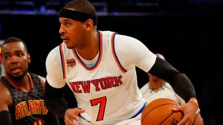 Carmelo Anthony of the New York Knicks controls the