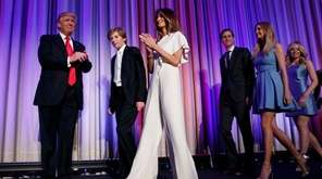Melania Trump attends an election night rally wearing