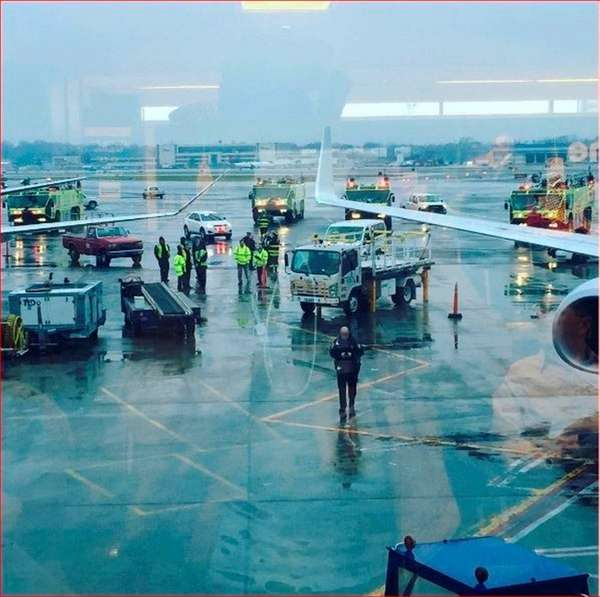 A photo of the scene at LaGuardia Airport