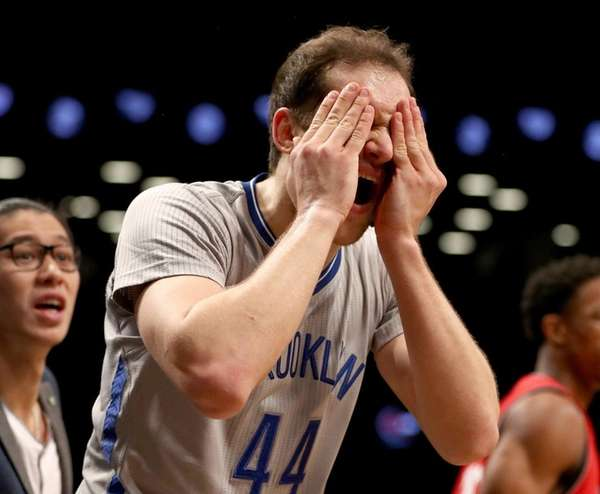 Bojan Bogdanovic #44 of the Brooklyn Nets reacts