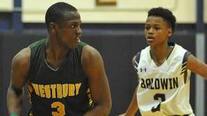 Jonathan Dean #3 of Westbury, left, looks to
