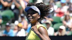 Venus Williams of the USA celebrates her win