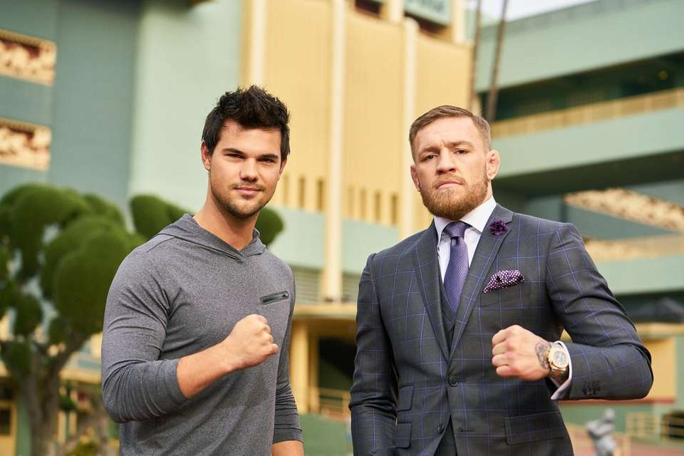 UFC lightweight champion Conor McGregor, right, and actor