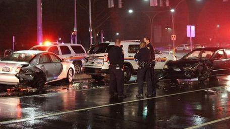 Nassau County police respond to a chain-reaction crash