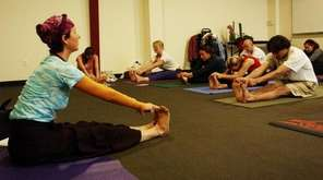 Instructor Anna Getty leads the Center Yourself with