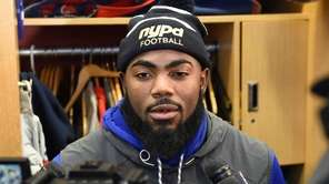 New York Giants strong safety Landon Collins wears