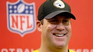Pittsburgh Steelers quarterback Ben Roethlisberger talks with reporters