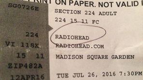Radiohead concert ticket.