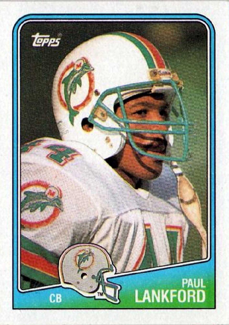 Paul Lankford Topps football card.
