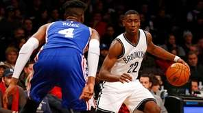 Caris LeVert #22 of the Brooklyn Nets controls