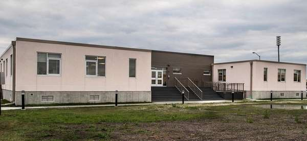 An exterior view of the Long Beach School