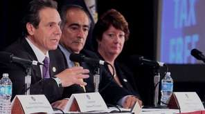 Gov. Andrew M. Cuomo, in Melville, speaks about