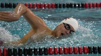 Half Hollow Hills' Alex Park swims freestyle in