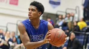 Port Washington's Xavier Merriweather sets up from outside