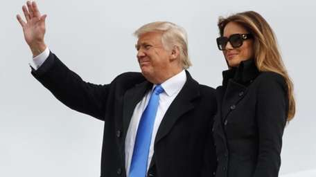 President-elect Donald Trump, accompanied by his wife Melania