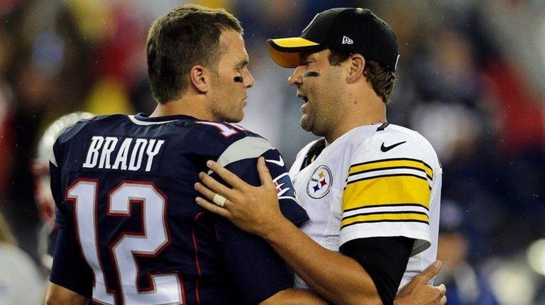 New England Patriots quarterback Tom Brady, left, speaks