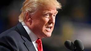 Republican presidential candidate Donald Trump speaks on the