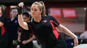 Middle Country junior Nicole Lettich bowls during a