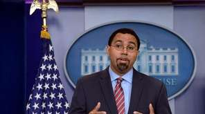 Outgoing Education Secretary John King speaks at the