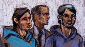 A courtroom sketch shows Akhror Saidakhmetov, left, of